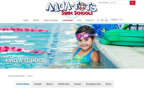 Screenshot of Locations Page aqua-tots.com - Locations - Aqua-Tots Swim Schools - captured April 9, 2016