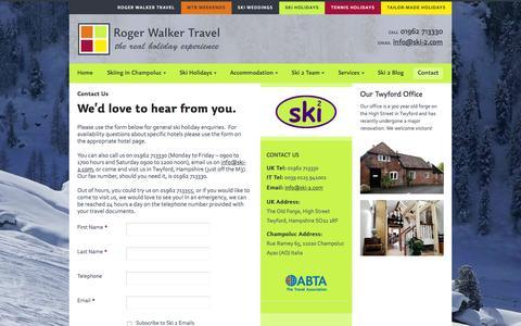 Screenshot of Contact Page ski-2.com - Contact Us | Roger Walker Travel - captured Feb. 4, 2016