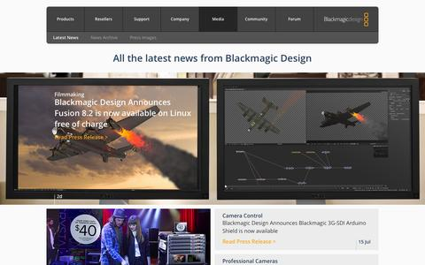 Screenshot of Press Page blackmagicdesign.com - Blackmagic Design: Media - captured July 29, 2016
