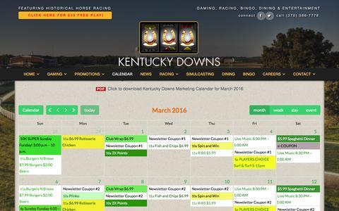 Screenshot of kentuckydowns.com - Calendar - Kentucky Downs - captured March 19, 2016