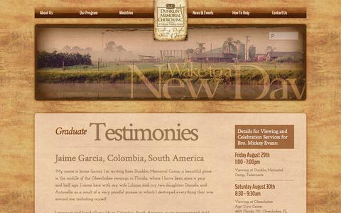 Screenshot of Testimonials Page dunklin.org - Testimonials | Dunklin Memorial Camp - captured Oct. 5, 2014
