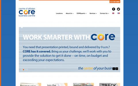 Screenshot of Home Page corebizcentres.com - CORE Business Centres - captured July 9, 2017