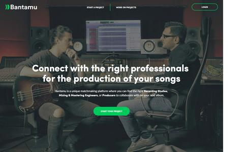 Screenshot of Home Page bantamu.com - Top Recording Studios, Mixing & Mastering Engineers, and Producers matched to you - captured Dec. 17, 2016