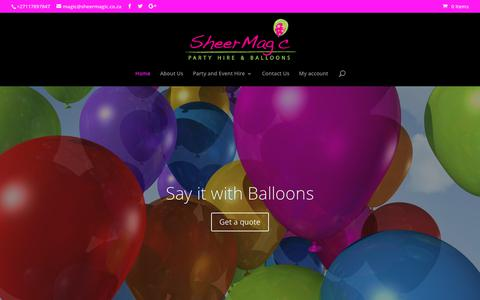 Screenshot of Home Page sheermagic.co.za - SheerMagic | Party Hire & Balloons - captured Sept. 20, 2018