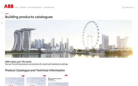 Screenshot of Support Page abb.com - Building products catalogues - Documentation for low voltage products   ABB - captured Nov. 9, 2019
