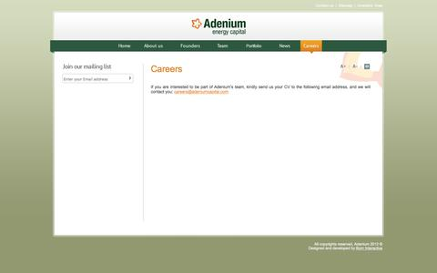 Screenshot of Jobs Page adeniumcapital.com - Adenium - captured Feb. 5, 2016