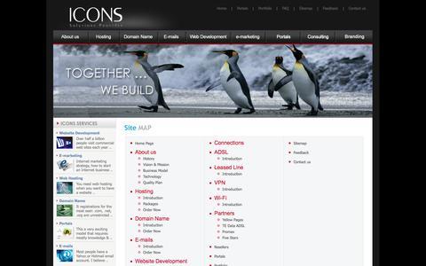 Screenshot of Site Map Page icons-eg.net - ** ICONS, E-marketing in Egypt, EGYPT Web Design, Web Hosting, Web Marketing Egypt - captured Oct. 6, 2014
