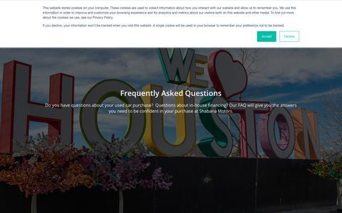 Screenshot of FAQ Page shabanamotors.com - Bad Credit Car Questions | Auto Financing FAQ | Shabana Motors - captured Sept. 22, 2018