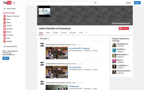 Screenshot of YouTube Page youtube.com - Jenks Chamber of Commerce  - YouTube - captured Oct. 24, 2014