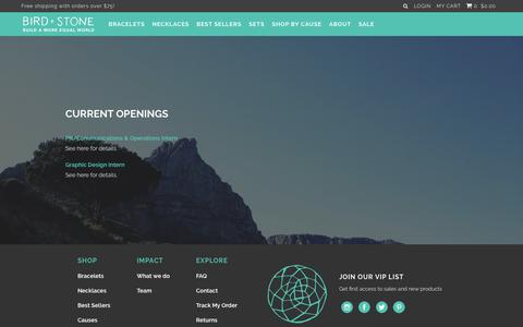 Screenshot of Jobs Page birdandstone.com - Work With Us – Socially Conscious Jewelry | Bird + Stone - captured Oct. 6, 2018