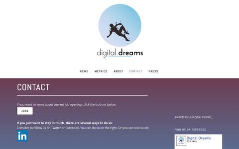 Screenshot of Contact Page digitaldreamsgames.com - Digital Dreams |   Contact - captured Feb. 9, 2016