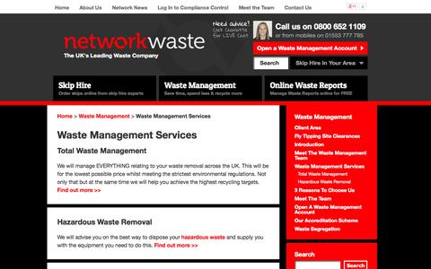 Screenshot of Services Page networkwaste.co.uk - Waste Management UK | Our Key Services | NETWORK WASTE - captured Oct. 9, 2014