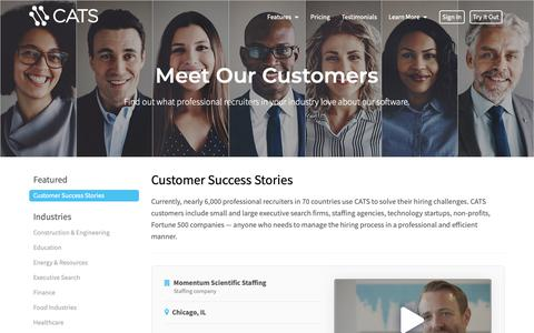 Screenshot of Testimonials Page catsone.com - Customers - CATS Applicant Tracking System - captured Sept. 30, 2018