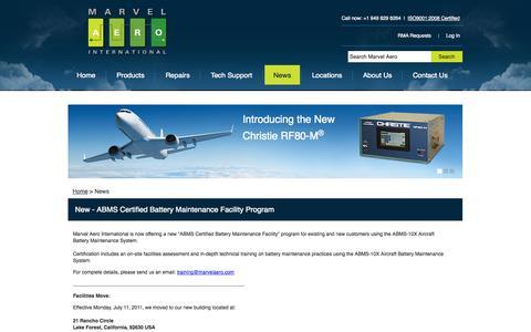 Screenshot of Press Page marvelaero.com - News - captured Oct. 3, 2014