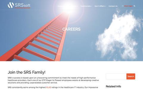 Screenshot of Jobs Page srssoft.com - Careers - SRS Software - captured April 20, 2016