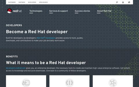 Screenshot of Developers Page redhat.com - Developers - captured Aug. 1, 2016