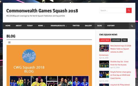 Screenshot of Blog cwgsquash.net - BLOG – Commonwealth Games Squash 2018 - captured Oct. 25, 2018