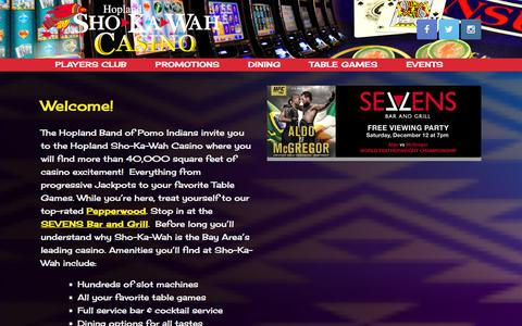 Screenshot of Home Page shokawah.com - Welcome to Hopland Sho-Ka-Wah Casino! - captured Dec. 12, 2015