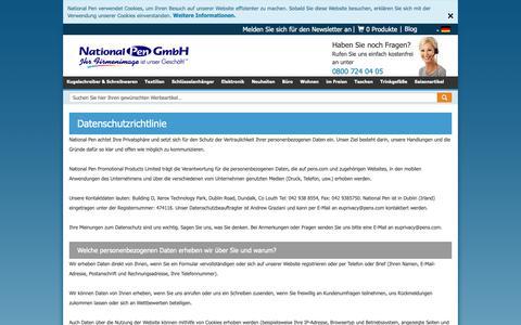 Screenshot of Privacy Page penseurope.com - Datenschutz | National Pen - captured Oct. 19, 2018