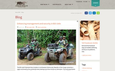 Screenshot of Blog awf.org - Blog | African Wildlife Foundation - captured May 12, 2018