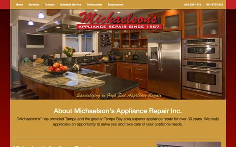 Screenshot of About Page michaelsons.us - About | Michaelson's Appliance Repair Inc. Tampa - captured Oct. 18, 2018