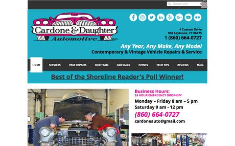 Screenshot of Home Page cardoneanddaughter.com - Cardone & Daughter Automotive Vintage and Contemporary Car Repair CT - captured Oct. 21, 2016