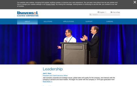 Screenshot of Team Page uecorp.com - Leadership - Universal Electric Corporation - captured Oct. 18, 2018