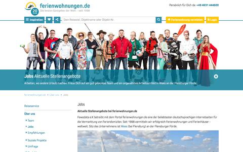 Screenshot of Jobs Page ferienwohnungen.de - Jobs in Wees (Flensburger Förde) bei ferienwohnungen.de - captured Sept. 22, 2018