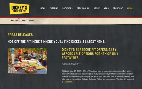 Screenshot of Press Page dickeys.com - Dickey's Barbecue Pit - captured July 2, 2017