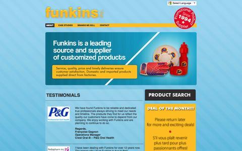 Screenshot of Testimonials Page funkins.ca - Funkins Inc. - captured Oct. 27, 2014