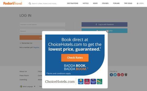 Screenshot of Login Page fodors.com - Log In | Fodor's Travel Guides - captured Feb. 26, 2017