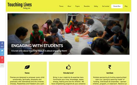 Screenshot of Home Page touchonelife.org - Touching Lives, NGO for child education | - captured March 2, 2016