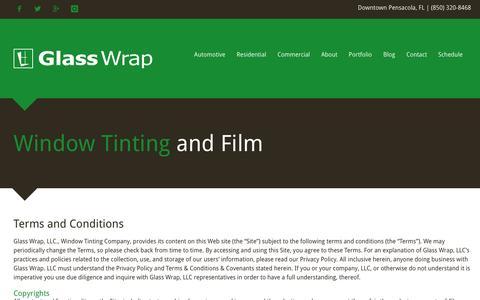 Screenshot of Terms Page glasswrap.com - Glass Wrap   Terms and Conditions - Pensacola, FL - captured Nov. 18, 2015