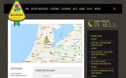 Screenshot of Contact Page kesbeke.nl - Contact - Kesbeke fijne tafelzuren - captured Oct. 15, 2018