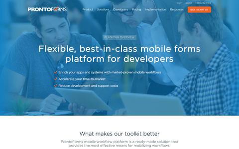Screenshot of Developers Page prontoforms.com - Mobile Forms Developer Toolkit Integration | ProntoForms - captured Sept. 13, 2017