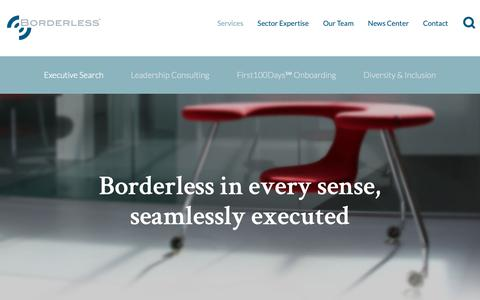 Screenshot of Services Page borderless.net - Executive Search Services  | Borderless - captured Oct. 6, 2018