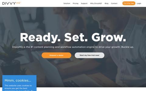 Screenshot of Home Page divvyhq.com - (1) New Message! - captured Nov. 10, 2019
