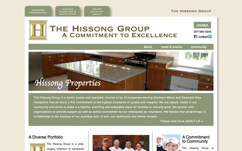 Screenshot of Home Page thehissonggroup.com - The Hissong Group - captured Sept. 30, 2014