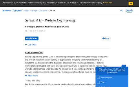 Screenshot of Jobs Page roche.com - Roche - Scientist II - Protein Engineering - captured July 16, 2019