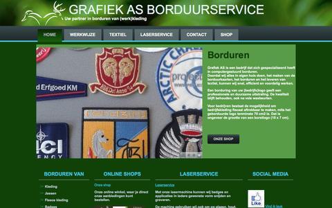 Screenshot of Home Page grafiekas.nl - Home - Grafiek AS Borduurservice - captured May 22, 2017