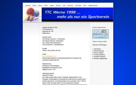 Screenshot of About Page ttcwerne98.com - Impressum - TTC Werne 1998 - Mehr als nur ein Verein - captured June 8, 2016