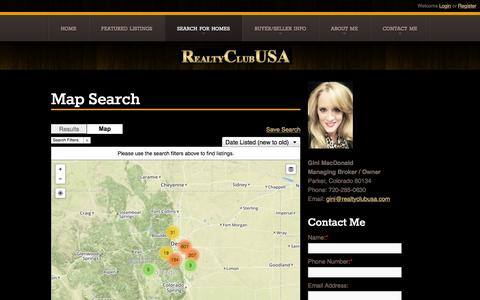 Screenshot of Maps & Directions Page realtyclubusa.com - Map Search | Parker Colorado Homes for Sale - Gini Scott - Realty Club USA - 720-285-0630 - captured Feb. 26, 2016