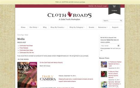Screenshot of Press Page clothroads.com - Media - ClothRoads - captured Oct. 2, 2014