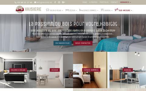 Screenshot of Home Page vaisiere.be - Vaisière | La passion du bois pour votre habitat. - captured Oct. 29, 2018