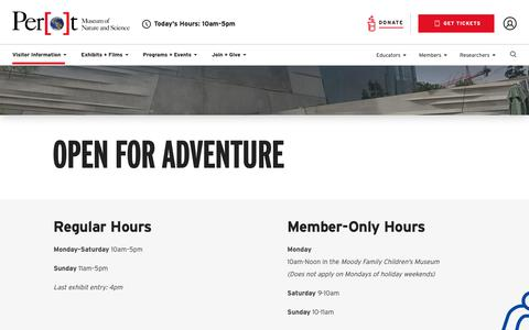 Screenshot of Hours Page perotmuseum.org - Dallas Perot Museum Hours | Perot Museum of Nature and Science - captured Sept. 27, 2018