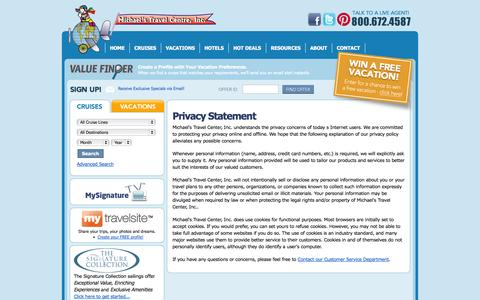 Screenshot of Privacy Page michaelstravel.com - Michael's Travel Center, Inc. - captured Oct. 27, 2014