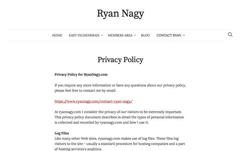 Screenshot of Privacy Page ryannagy.com - Privacy Policy - Ryan Nagy - captured Oct. 11, 2017
