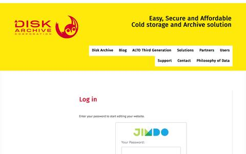 Screenshot of Login Page diskarchive.com - Log in - ALTO - Easy, Secure and Affordable Cold storage and Archive - captured Nov. 24, 2016