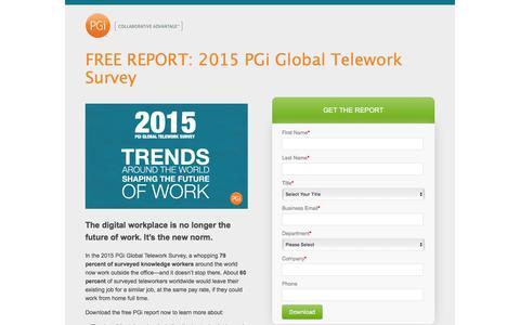 Screenshot of Landing Page pgi.com - PGi   2015 Global Telework Survey - captured Dec. 17, 2015