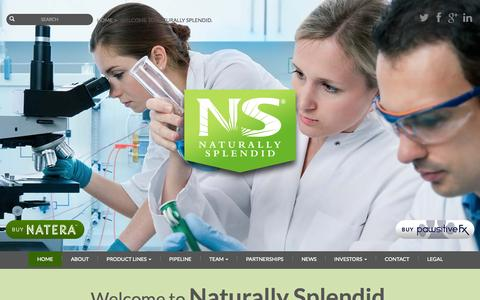 Screenshot of Home Page naturallysplendid.com - Welcome to Naturally Splendid. - captured Sept. 7, 2015